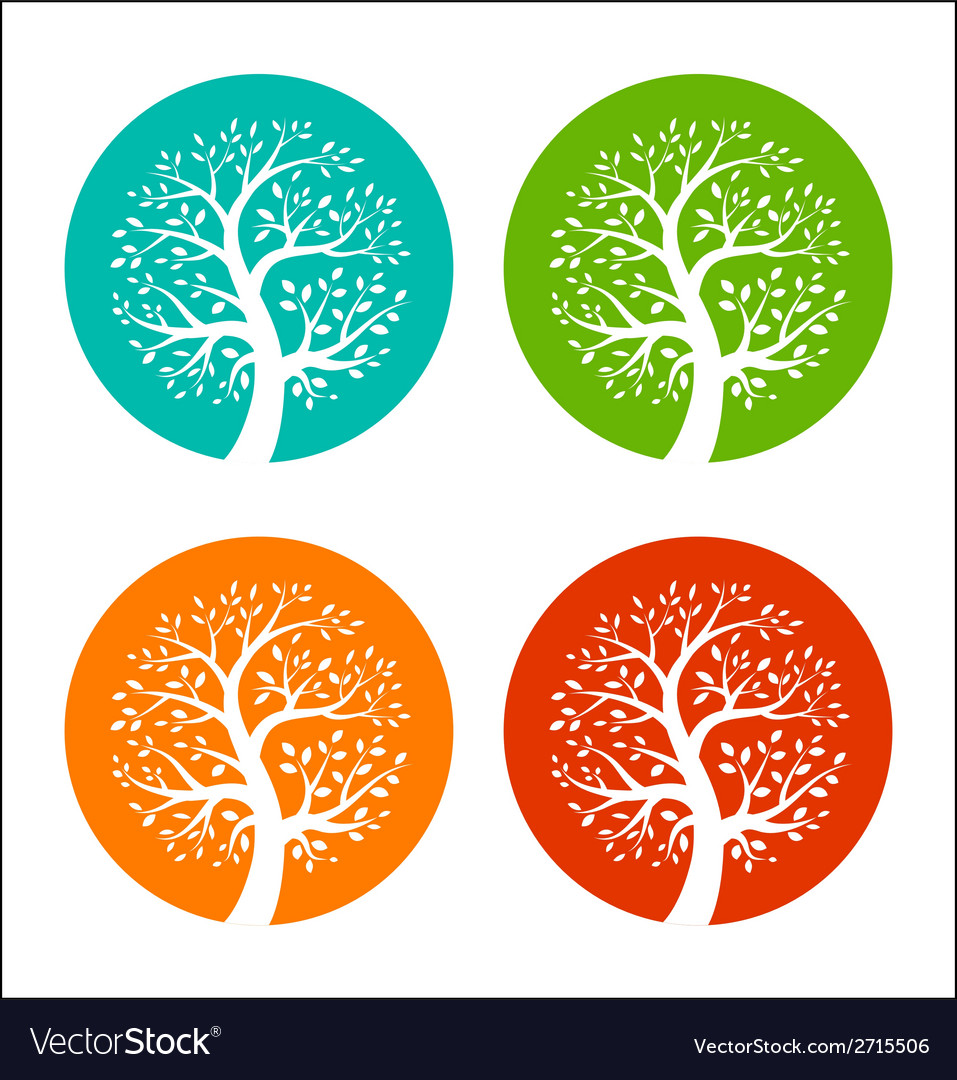Set of colorful season tree icons vector   Price: 1 Credit (USD $1)