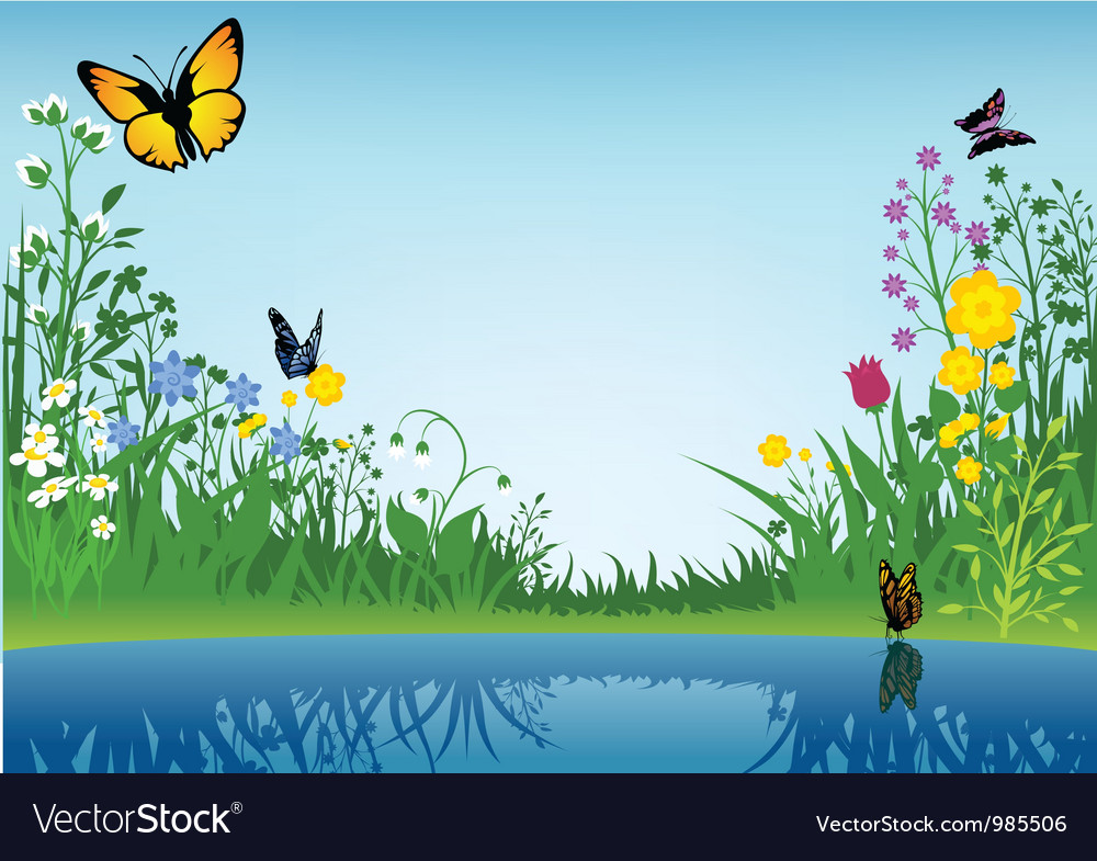Small lake and butterflies vector | Price: 1 Credit (USD $1)
