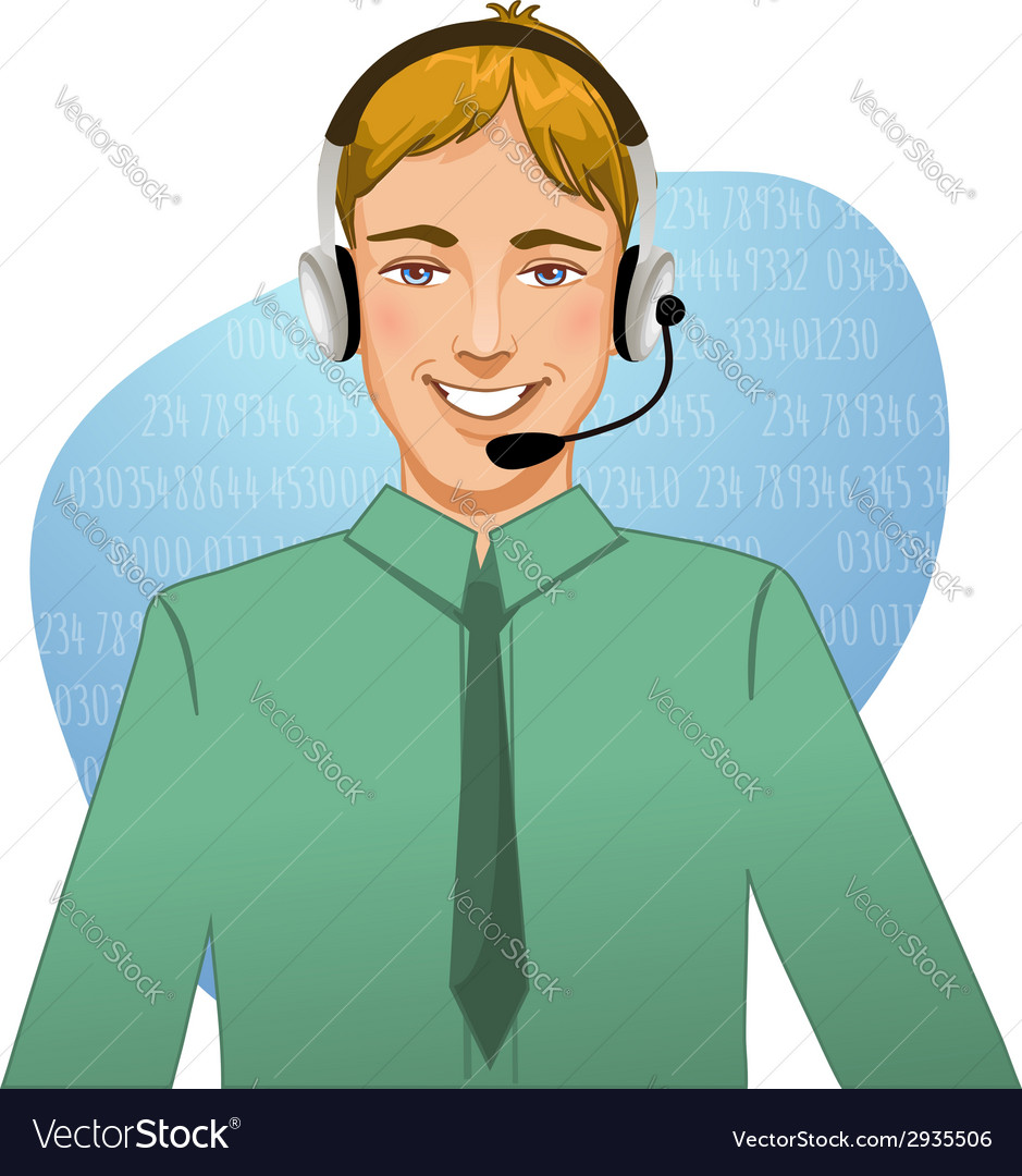 Young man a call operator eps10 vector | Price: 1 Credit (USD $1)
