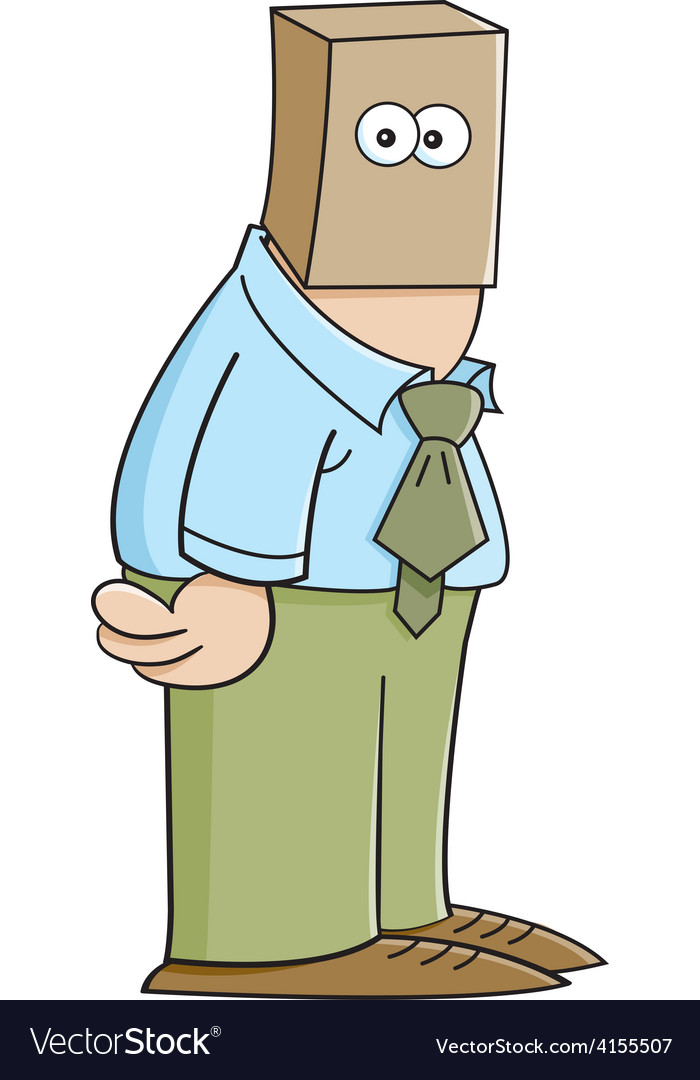 Cartoon man with a paper bag on his head vector