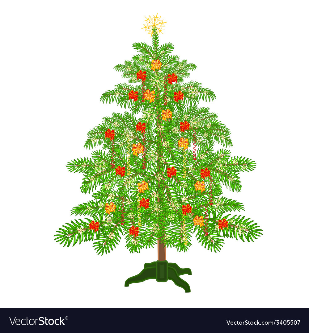 Christmas decoration tree with ribbon vector | Price: 1 Credit (USD $1)