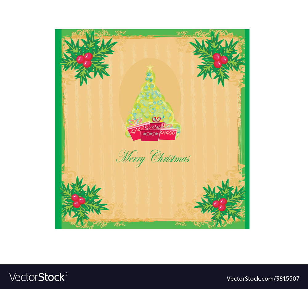 Christmas tree with abstract holly berry vector | Price: 1 Credit (USD $1)