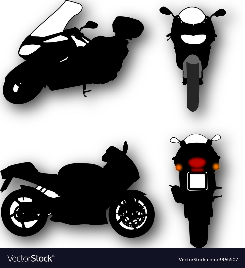 Collection of motorcycle silhouettes vector | Price: 1 Credit (USD $1)