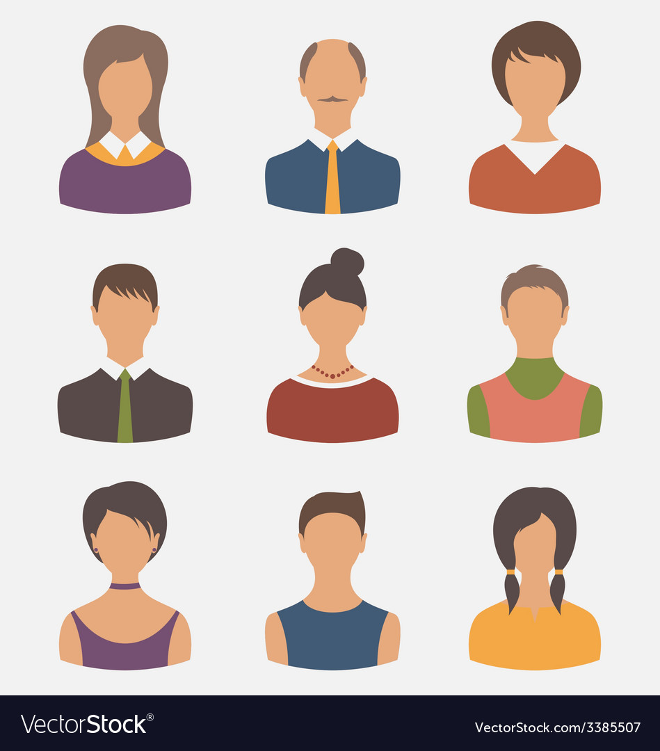 Different male and female user avatars - vector | Price: 1 Credit (USD $1)