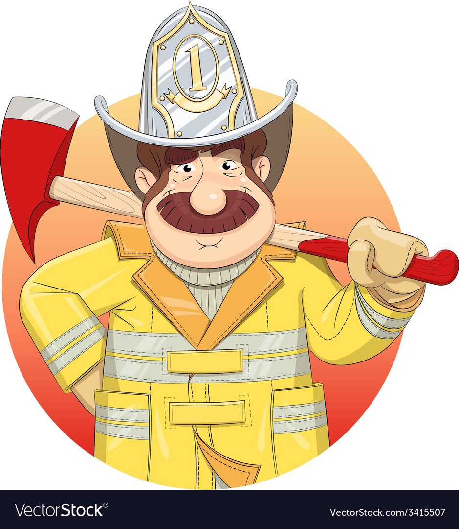 Fireman in uniform with ax vector | Price: 3 Credit (USD $3)