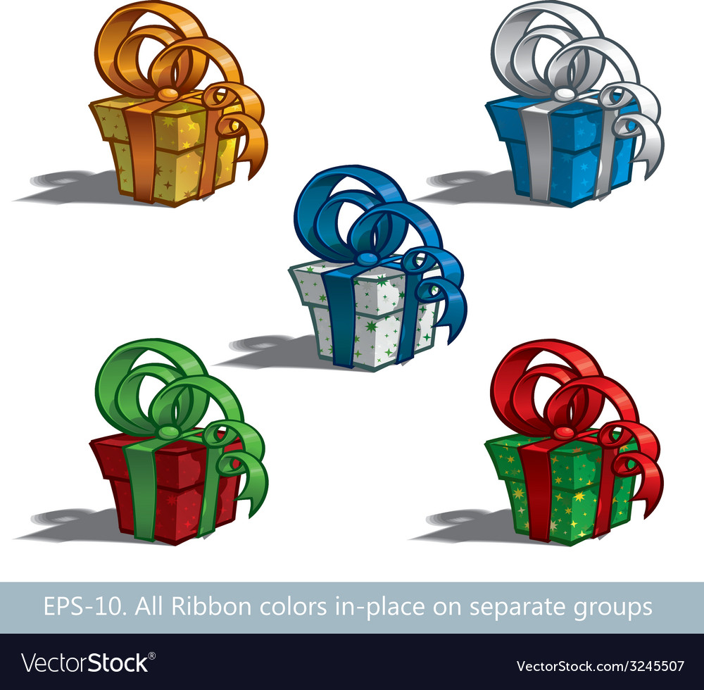 Five gift boxes vector | Price: 1 Credit (USD $1)