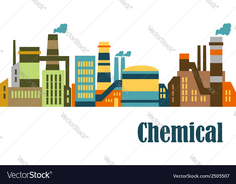 Flat factories and plants vector | Price: 1 Credit (USD $1)