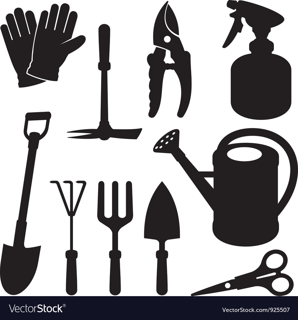 Gardening silhouettes vector | Price: 1 Credit (USD $1)
