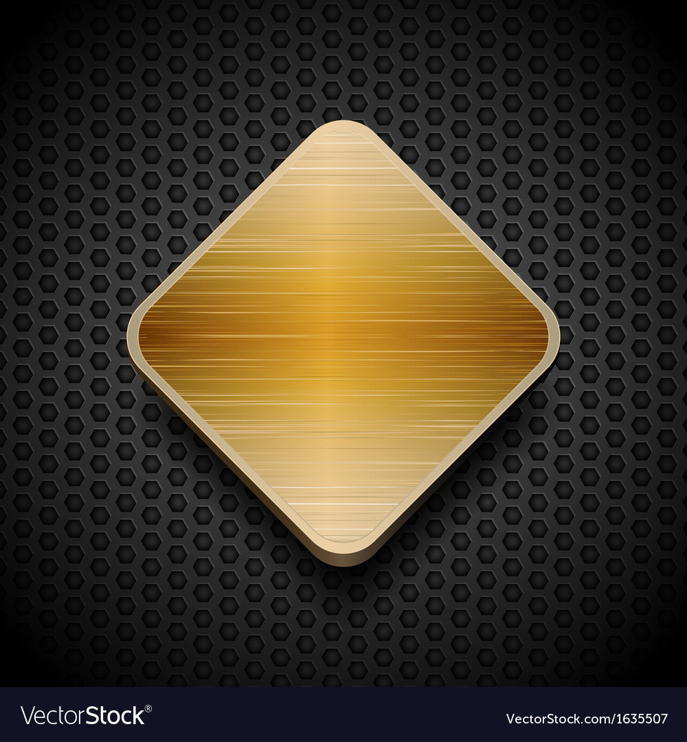 Gold brushed panel on black mesh background vector | Price: 1 Credit (USD $1)