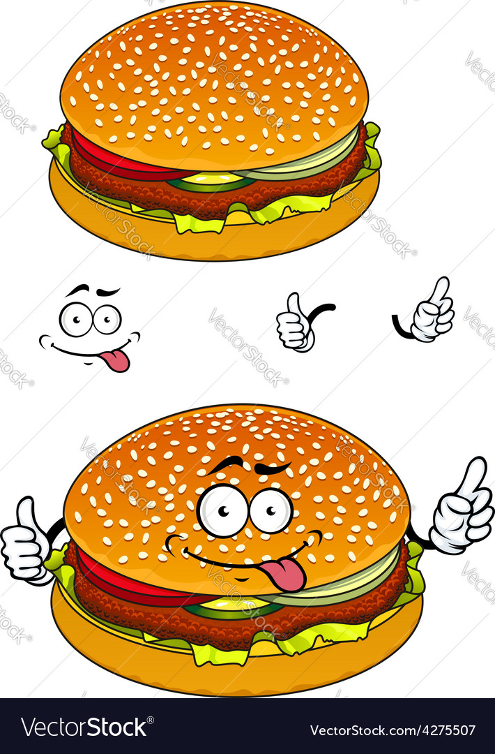 Hamburger cartoon character isolated on white vector | Price: 1 Credit (USD $1)
