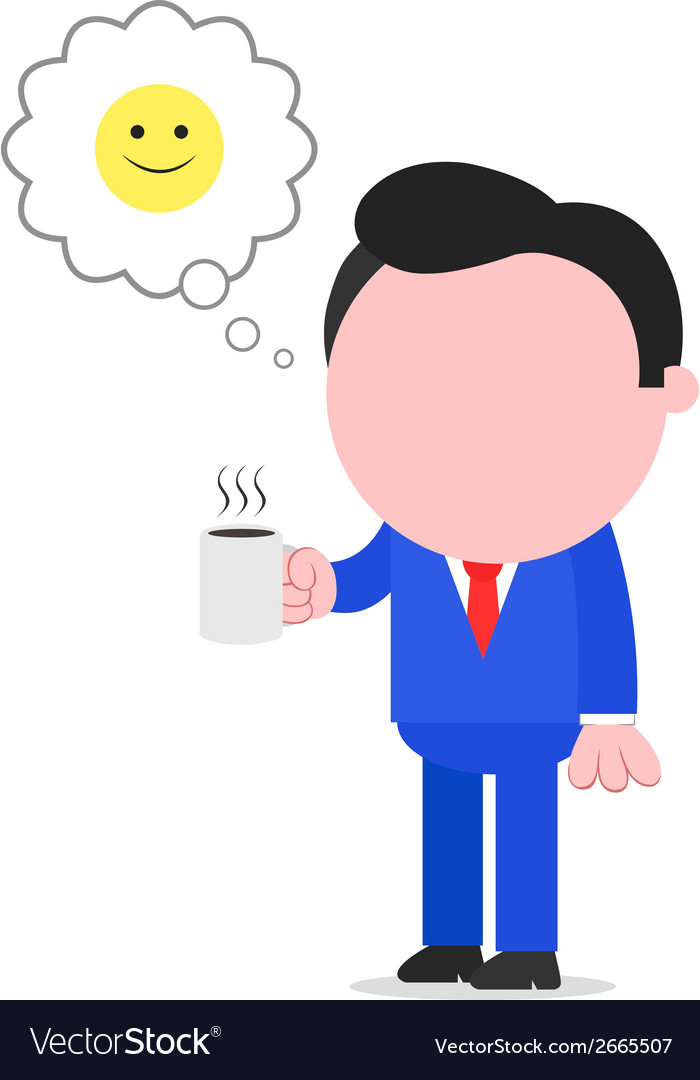 Happy businessman holding coffee mug vector | Price: 1 Credit (USD $1)