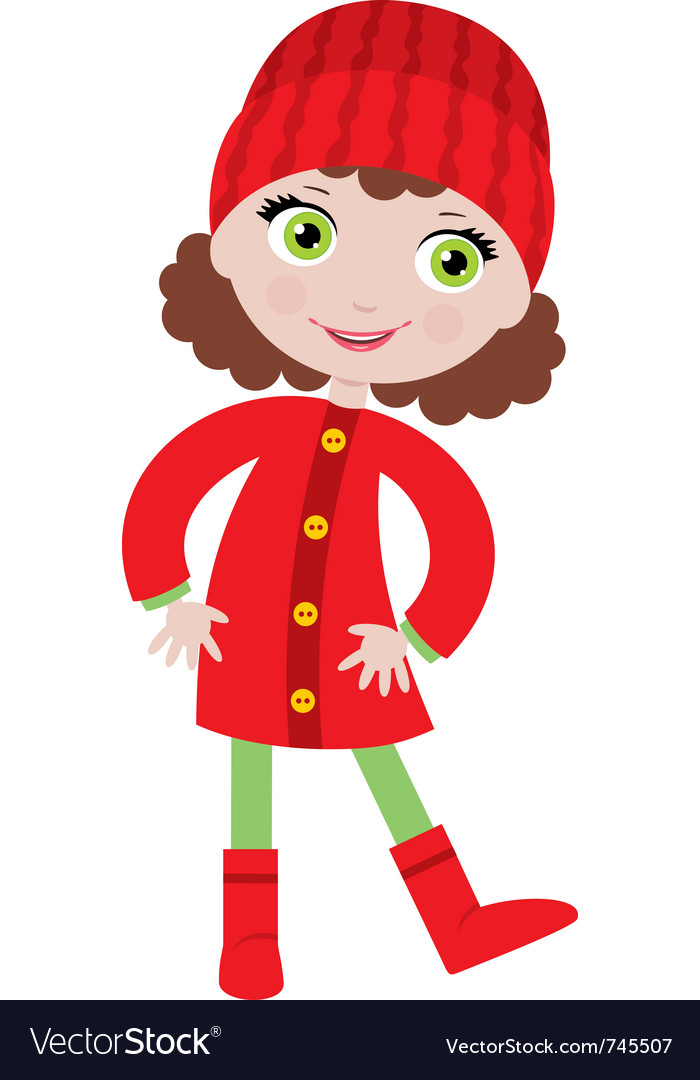 Little girl in a coat vector | Price: 3 Credit (USD $3)