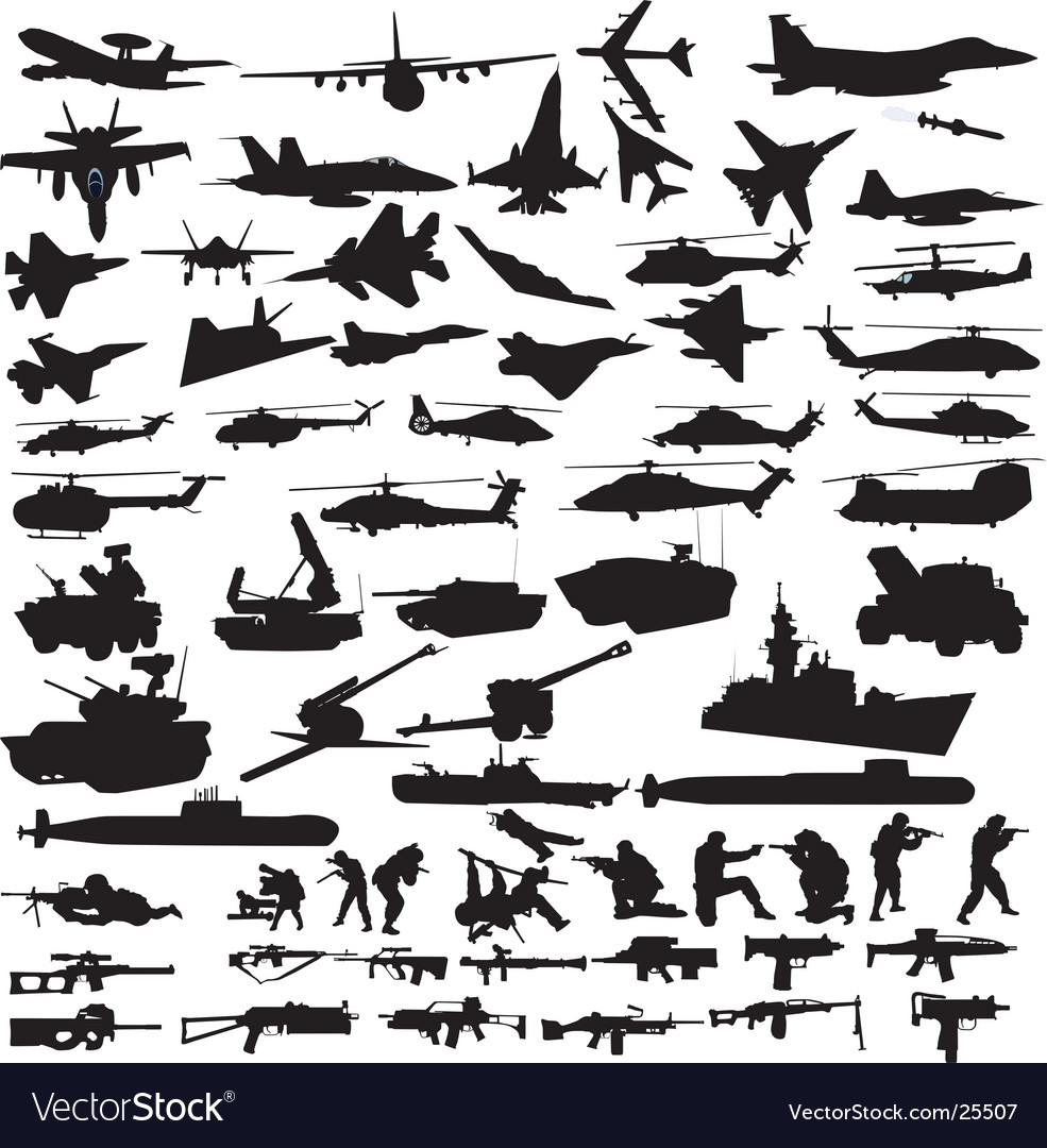 Military icons silhouettes vector | Price: 1 Credit (USD $1)