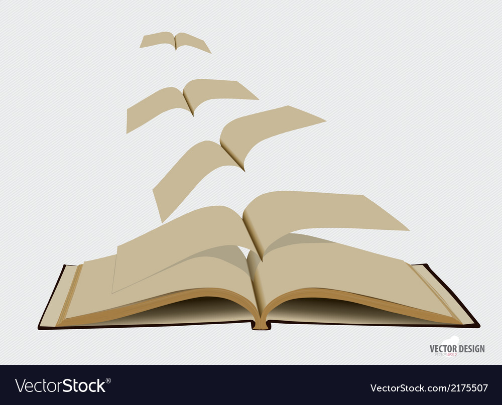 Opened flying old books vector | Price: 1 Credit (USD $1)