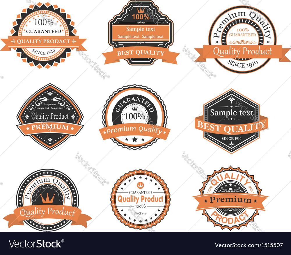 Quality ang warranty labels vector | Price: 1 Credit (USD $1)