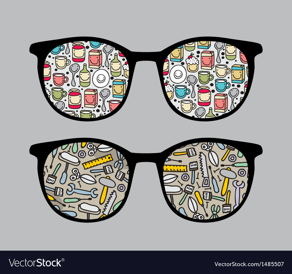 Retro sunglasses with tools reflection in it vector | Price: 1 Credit (USD $1)