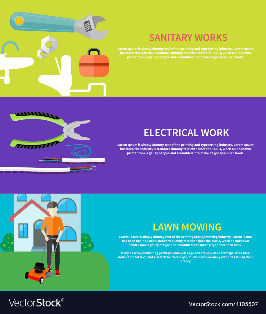 Sanitary electrical work lawn mowing vector | Price: 1 Credit (USD $1)