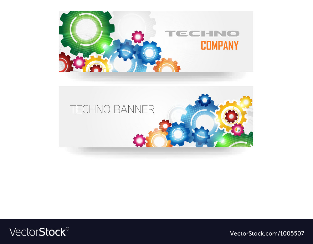 Technology colorful gears banner vector | Price: 1 Credit (USD $1)