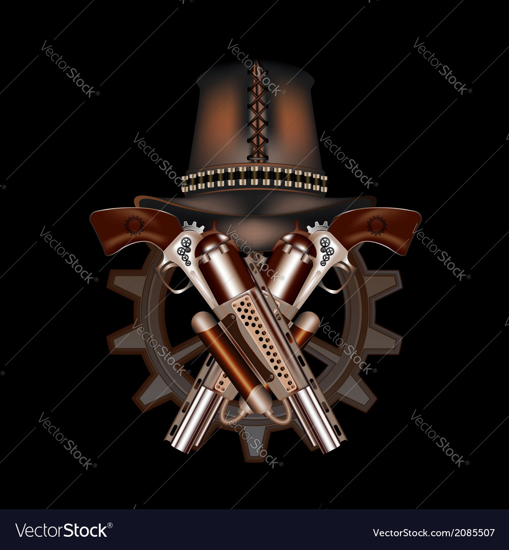 Two steampunk revolvers and hat vector | Price: 1 Credit (USD $1)
