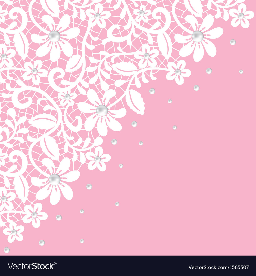 White guipure border with pearls on pink vector | Price: 1 Credit (USD $1)