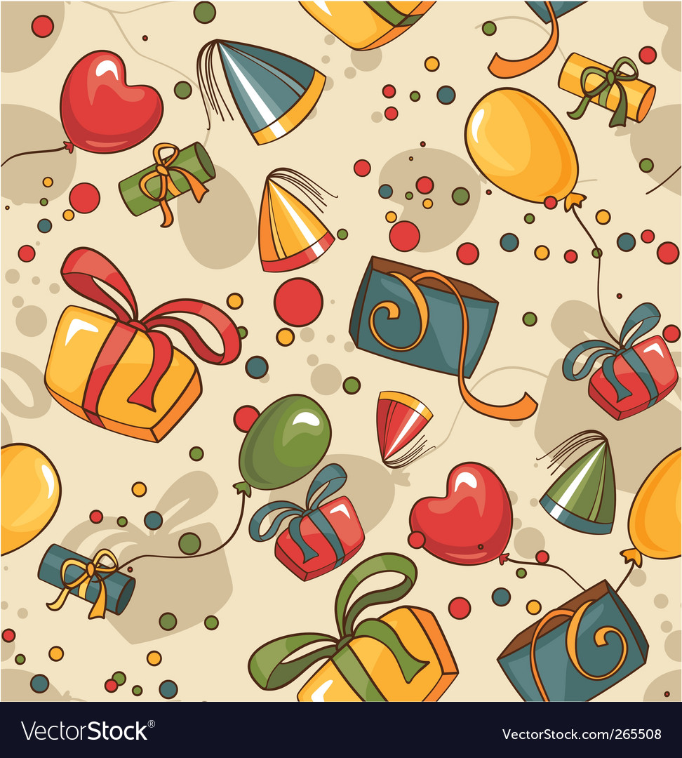 Birthday seamless wallpaper vector | Price: 1 Credit (USD $1)