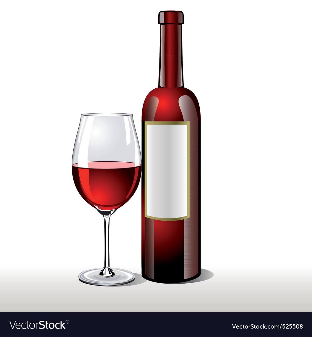 Bottle of red wine with a glas vector | Price: 1 Credit (USD $1)