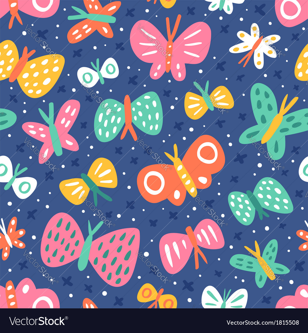 Cartoon butterflies pattern vector | Price: 1 Credit (USD $1)