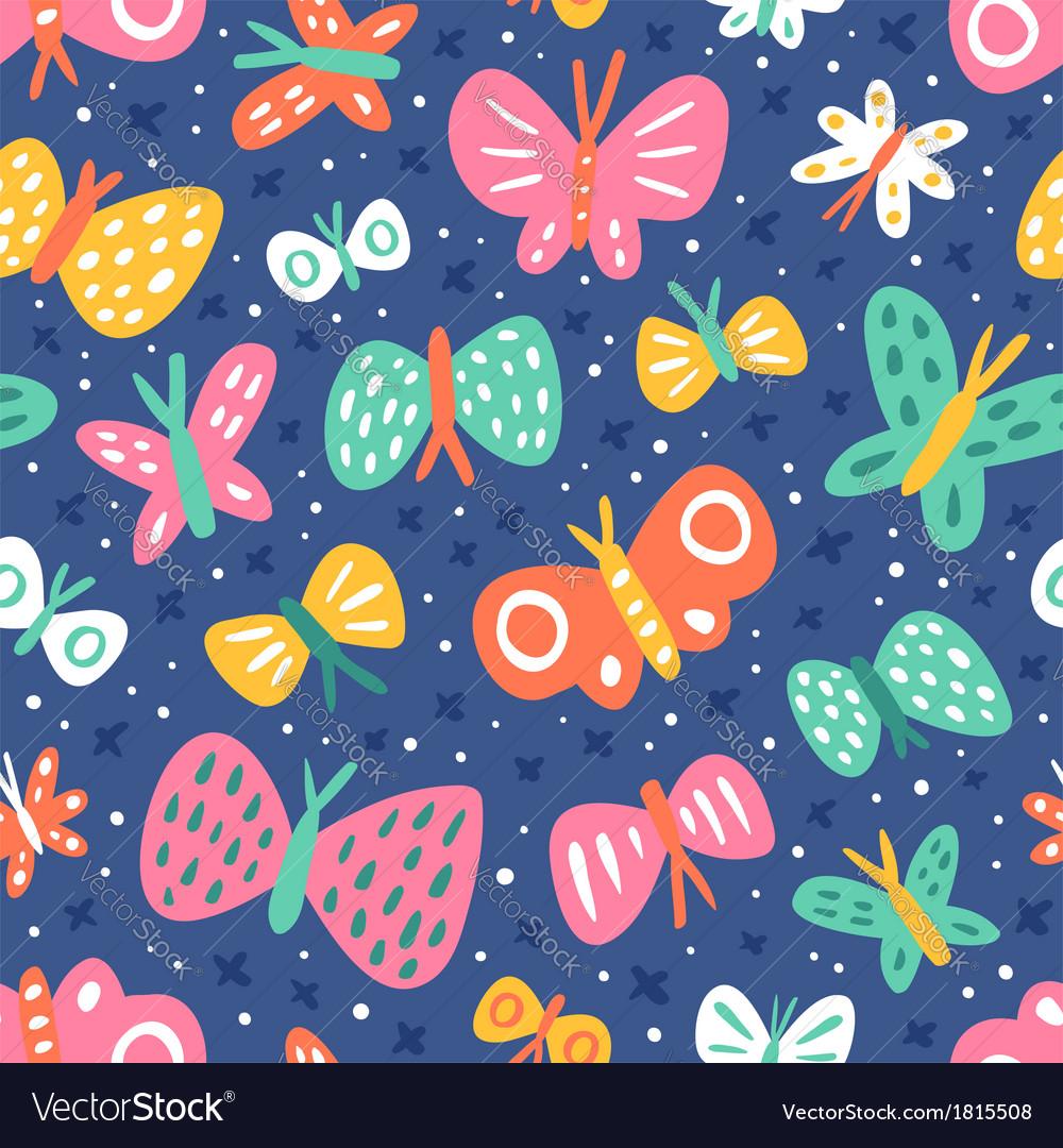 Cartoon butterflies pattern vector | Price: 1 Credit (USD $1)