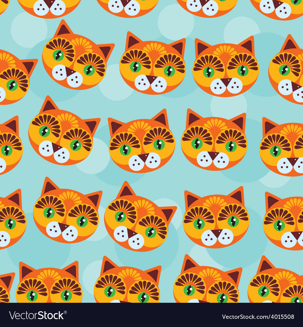 Cat seamless pattern with funny cute animal face vector | Price: 1 Credit (USD $1)