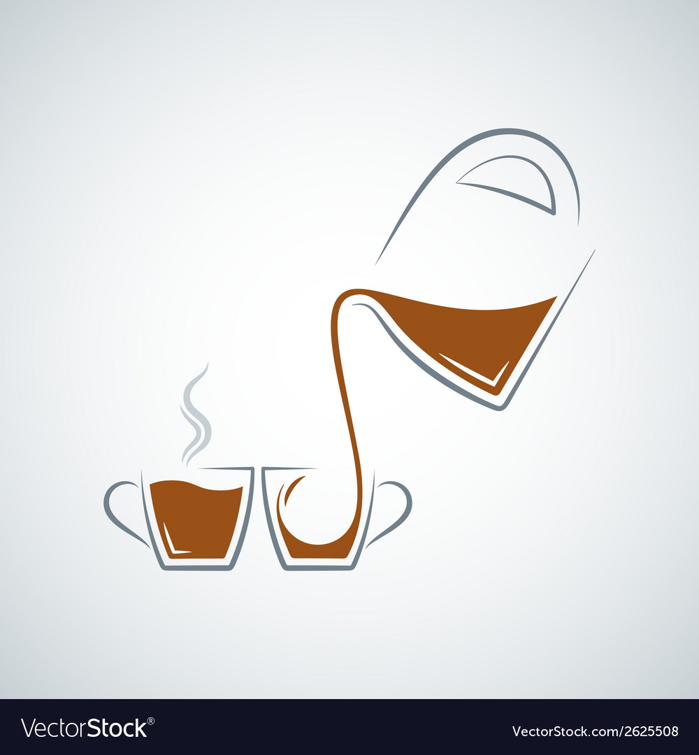 Coffee cup glass pot background vector | Price: 1 Credit (USD $1)