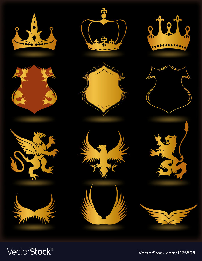 Collection heraldic gold elements on black vector | Price: 1 Credit (USD $1)
