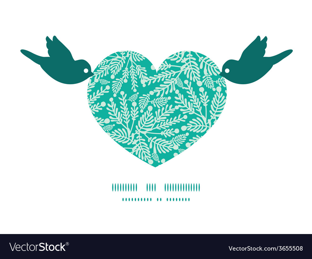 Emerald green plants birds holding heart vector | Price: 1 Credit (USD $1)
