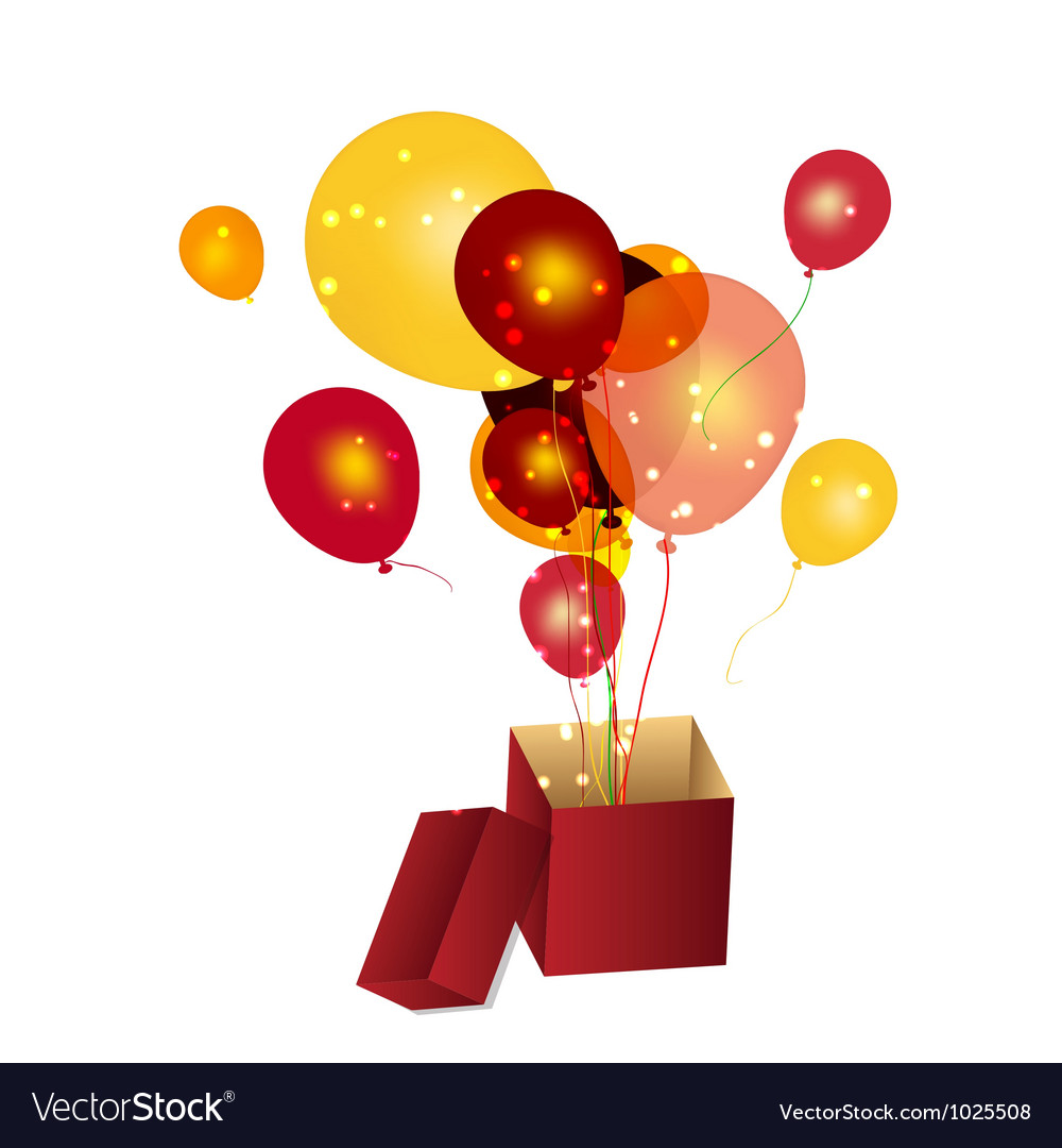 Gift box with baloons vector | Price: 1 Credit (USD $1)