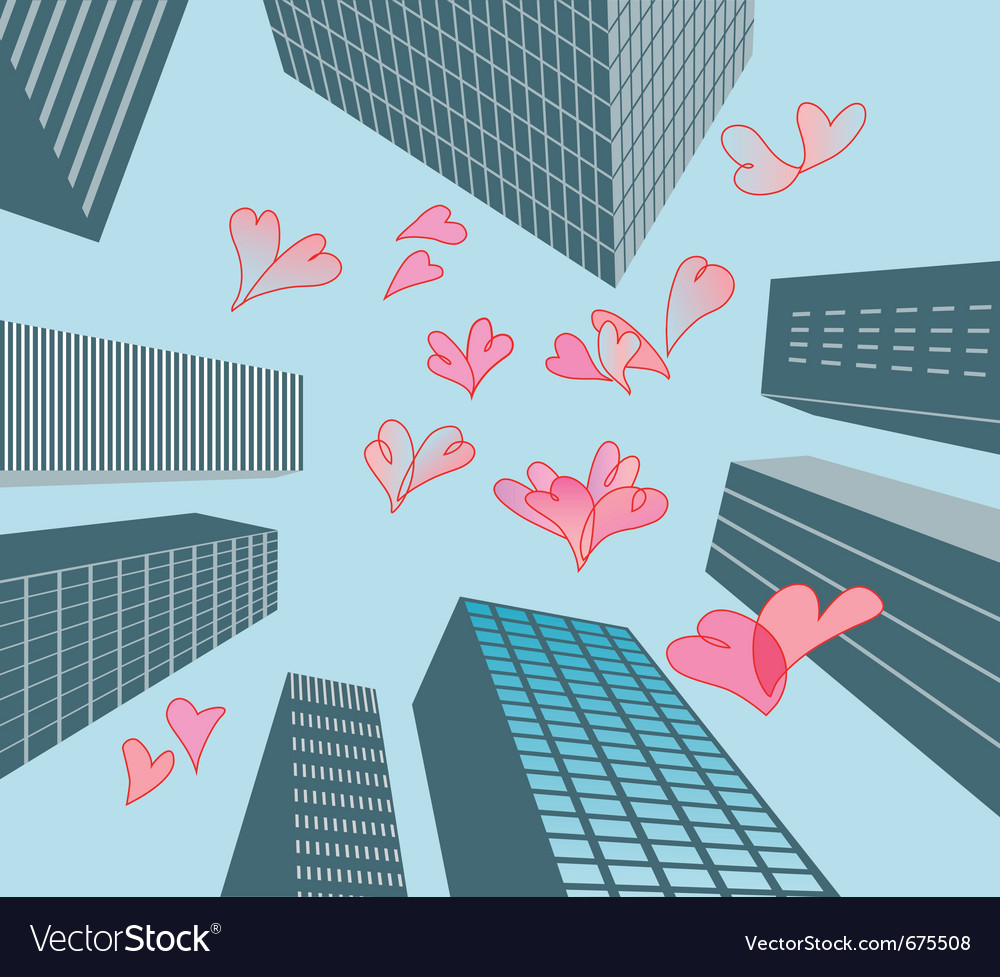 Hearts and buildings vector | Price: 1 Credit (USD $1)