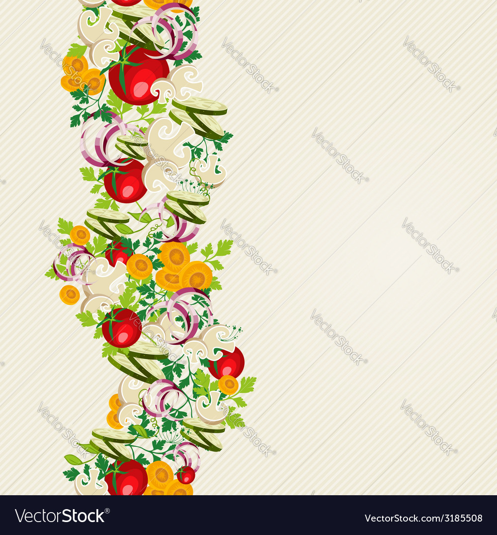Organic vegetables seamless pattern background vector | Price: 1 Credit (USD $1)