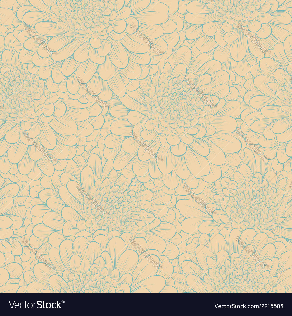 Seamless pattern with hand-drawn flowers vector | Price: 1 Credit (USD $1)