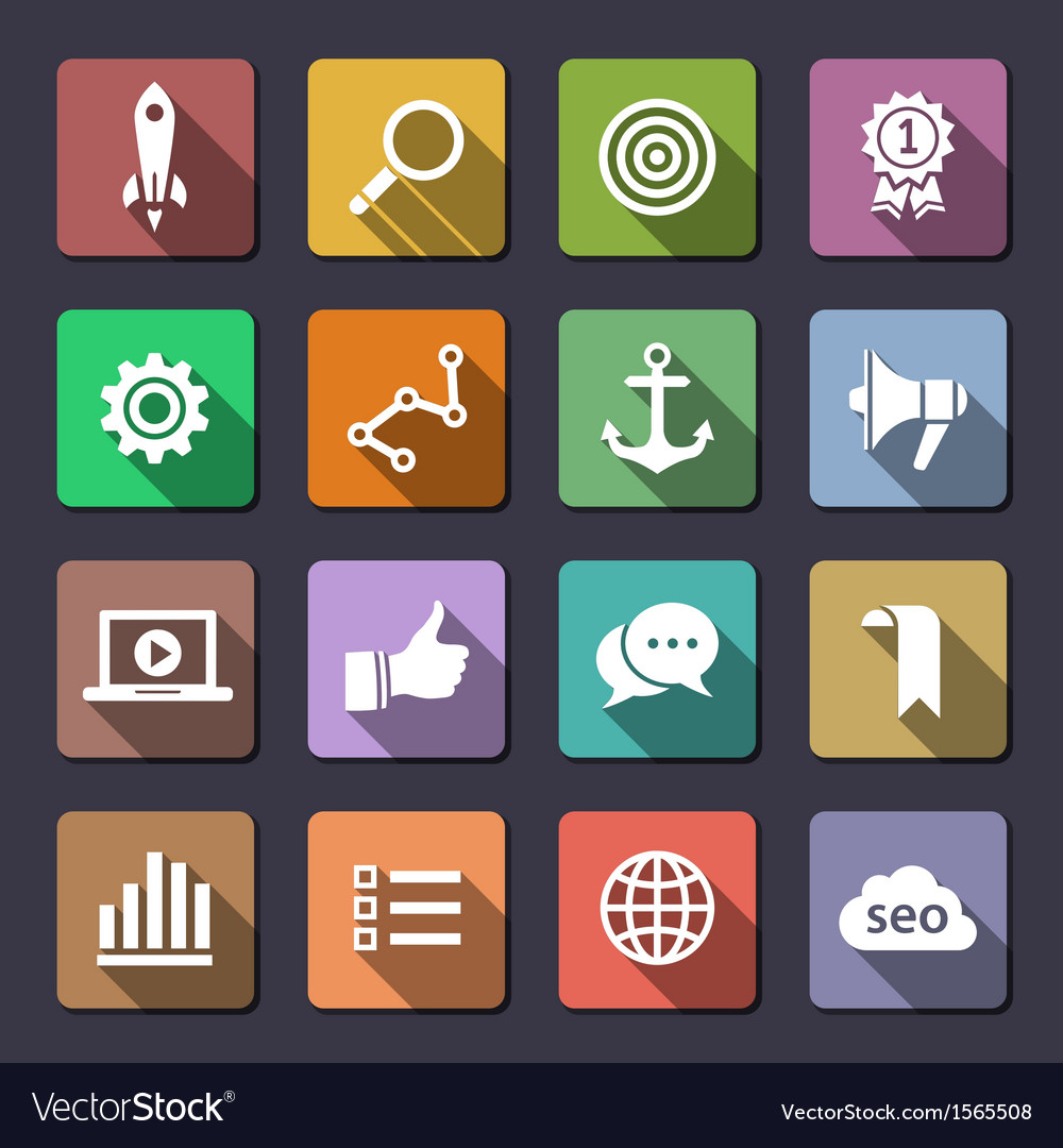 Search engine optimization icon set vector | Price: 3 Credit (USD $3)