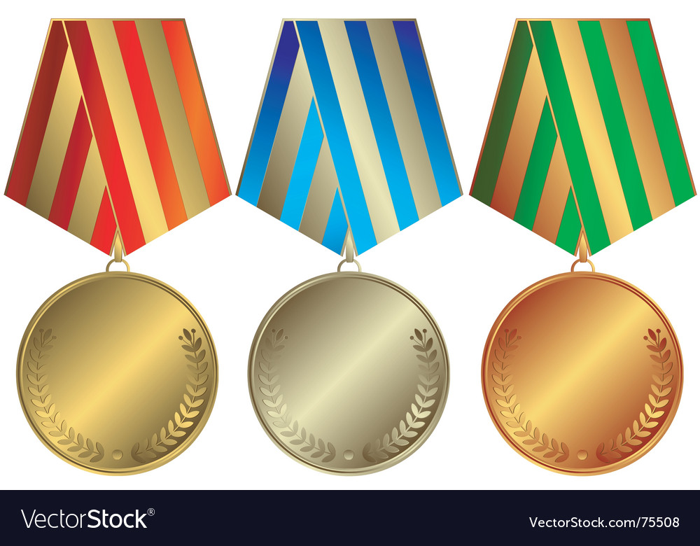 Silvery gold and bronze medals vector | Price: 1 Credit (USD $1)