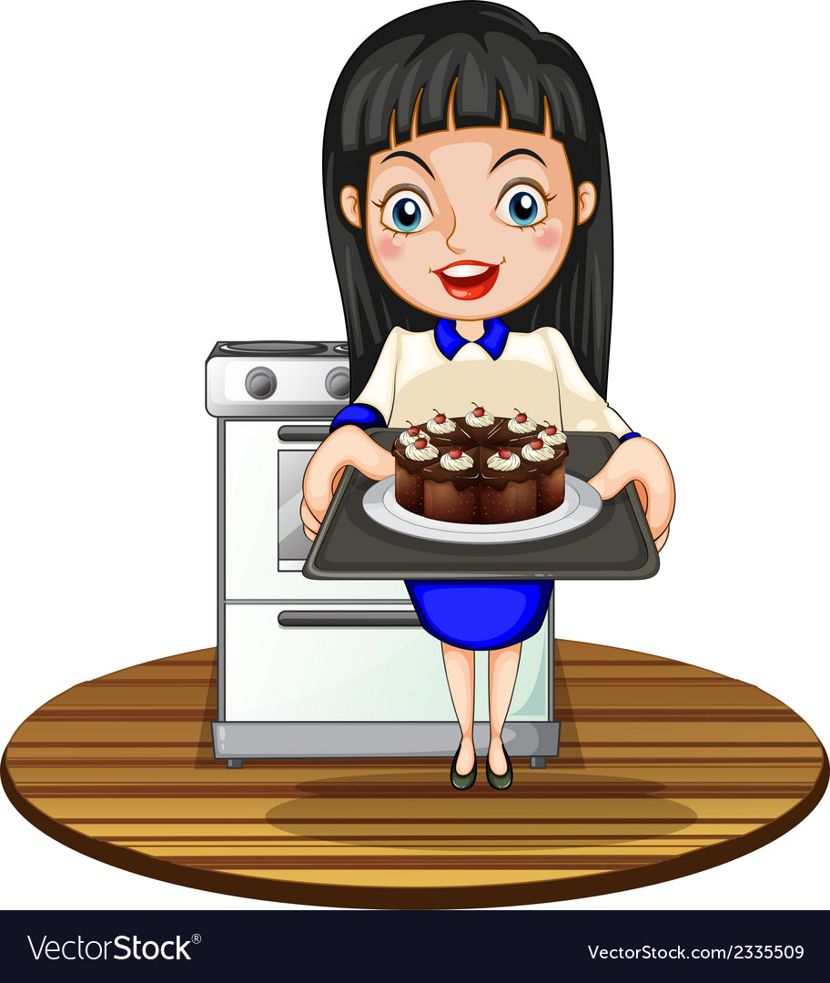 A girl baking a cake vector | Price: 3 Credit (USD $3)