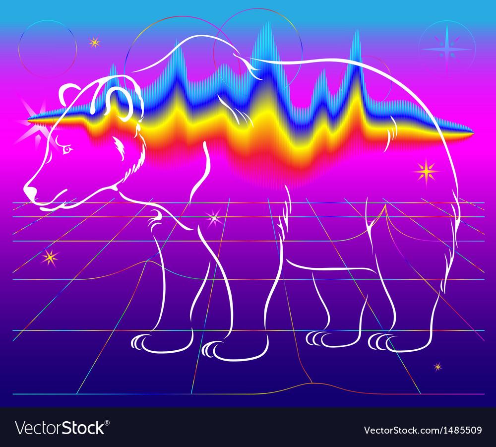 Bear northern lights vector | Price: 1 Credit (USD $1)