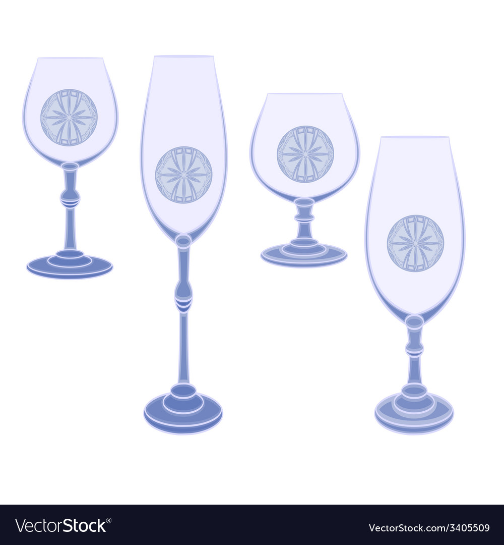 Champaign glasses cut glass blue vector | Price: 1 Credit (USD $1)