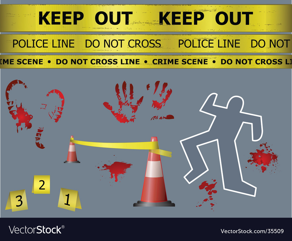 Crime scene objects vector | Price: 1 Credit (USD $1)