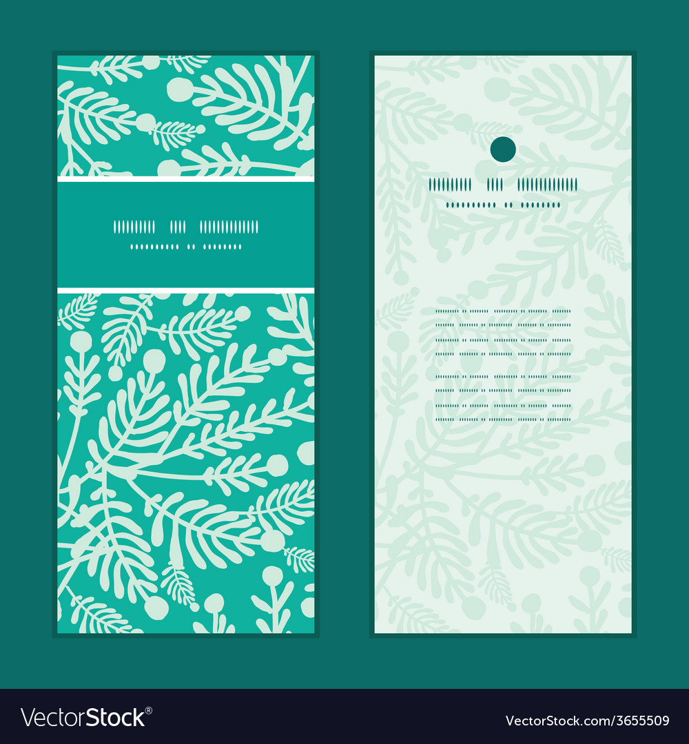 Emerald green plants vertical frame pattern vector | Price: 1 Credit (USD $1)