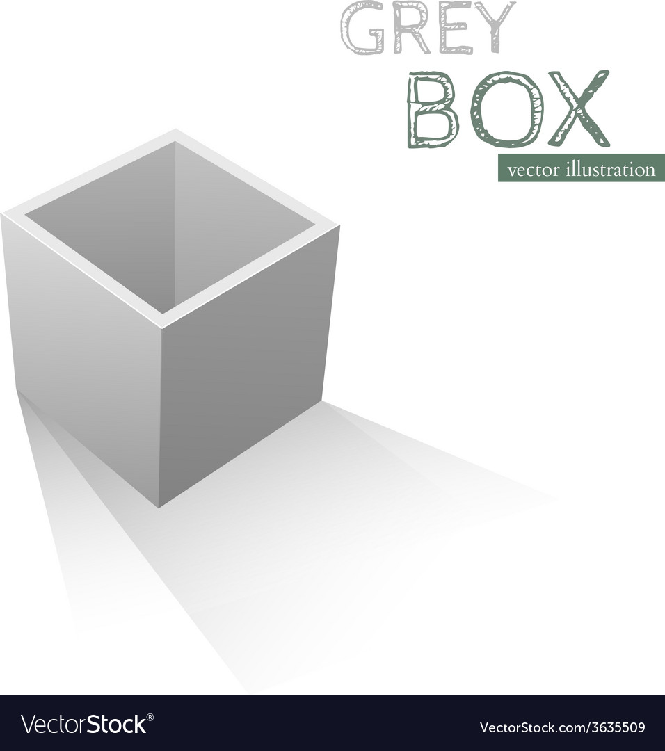 Grey box isolated on white background vector | Price: 1 Credit (USD $1)
