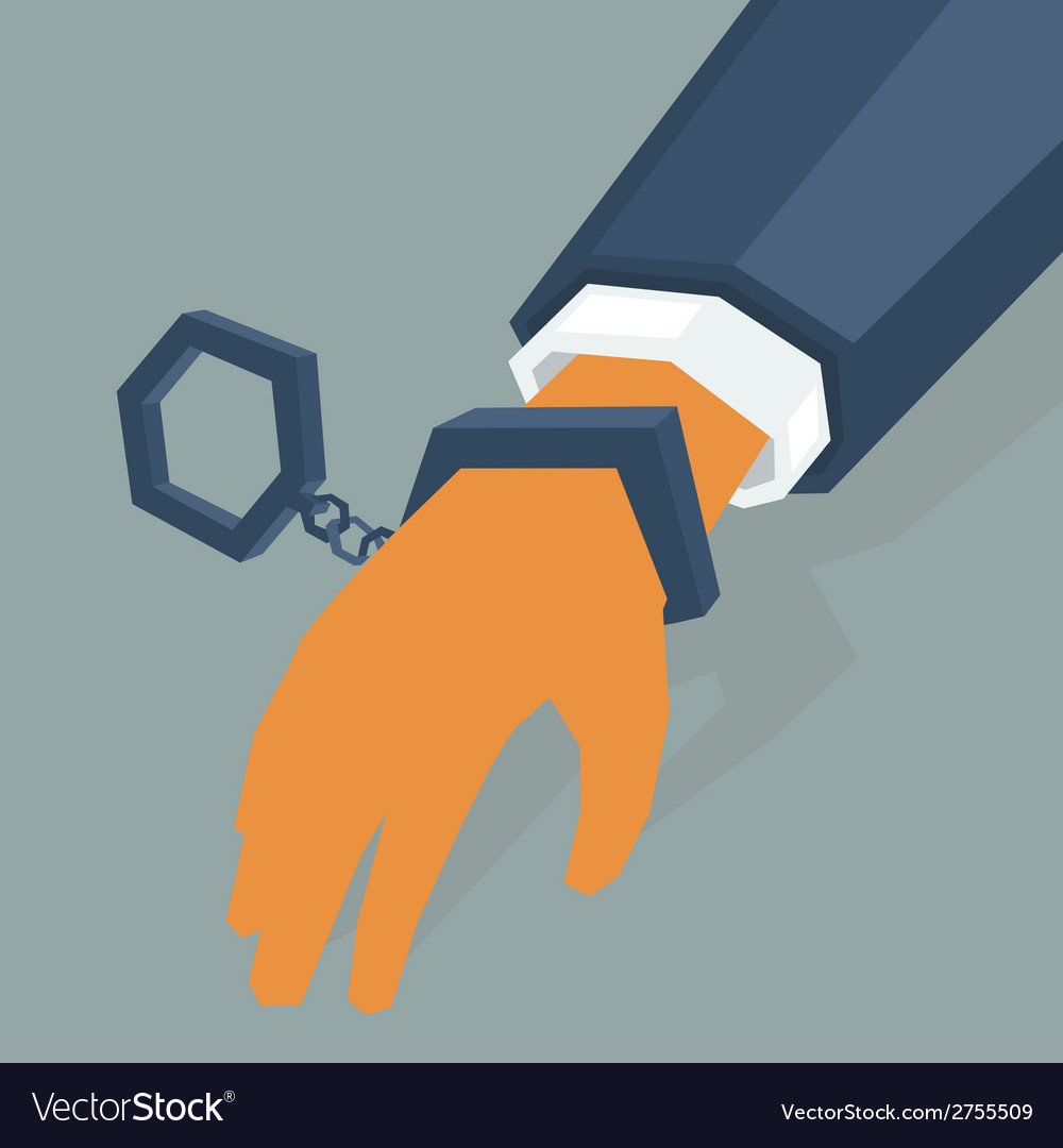 Hand criminal in handcuffs vector | Price: 1 Credit (USD $1)