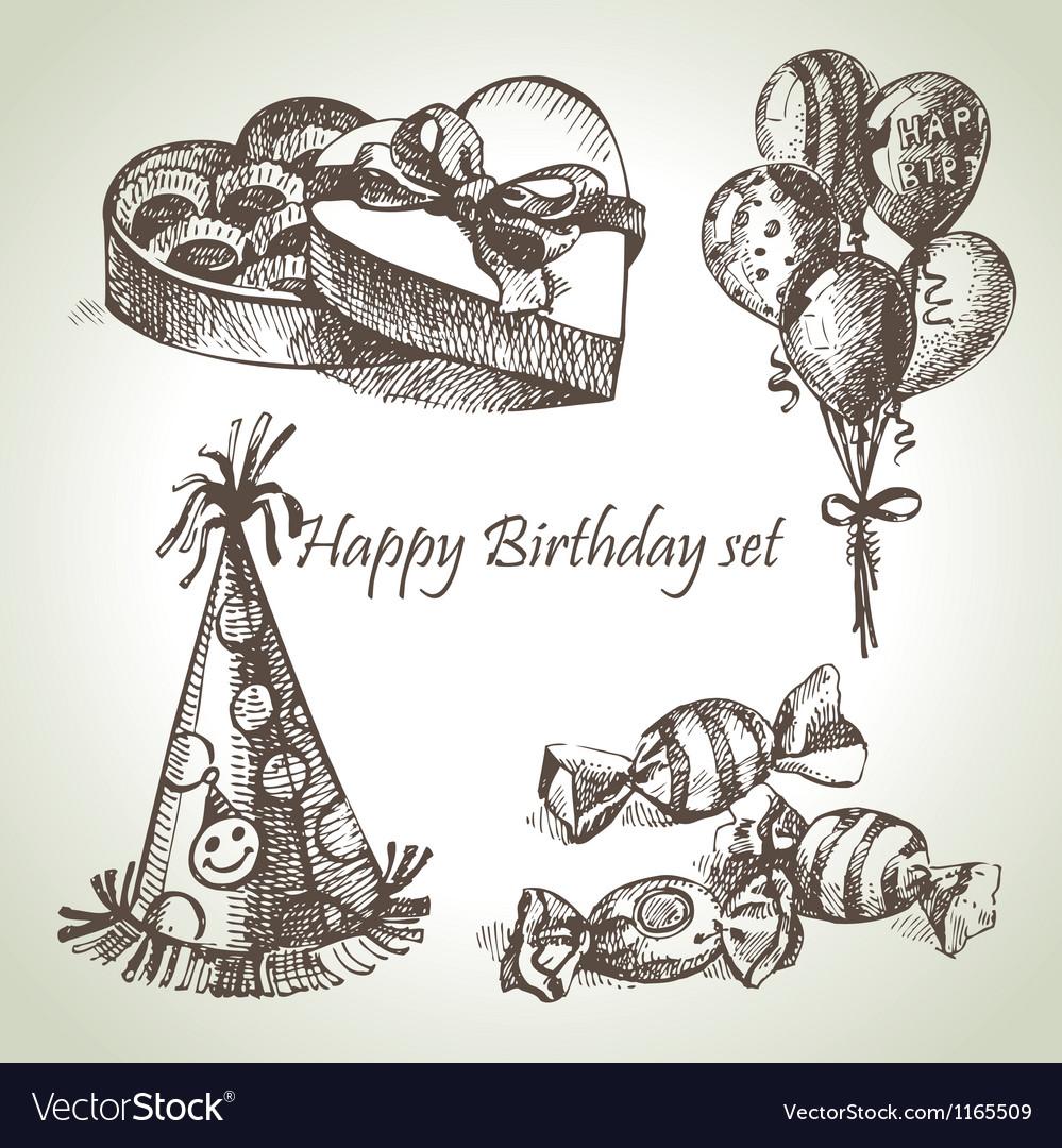 Happy birthday set hand drawn vector | Price: 1 Credit (USD $1)