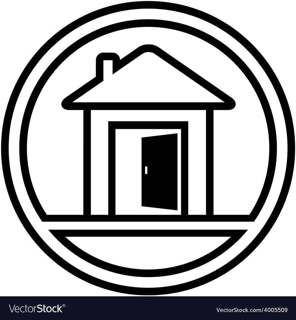 Icon with house and open door vector | Price: 1 Credit (USD $1)