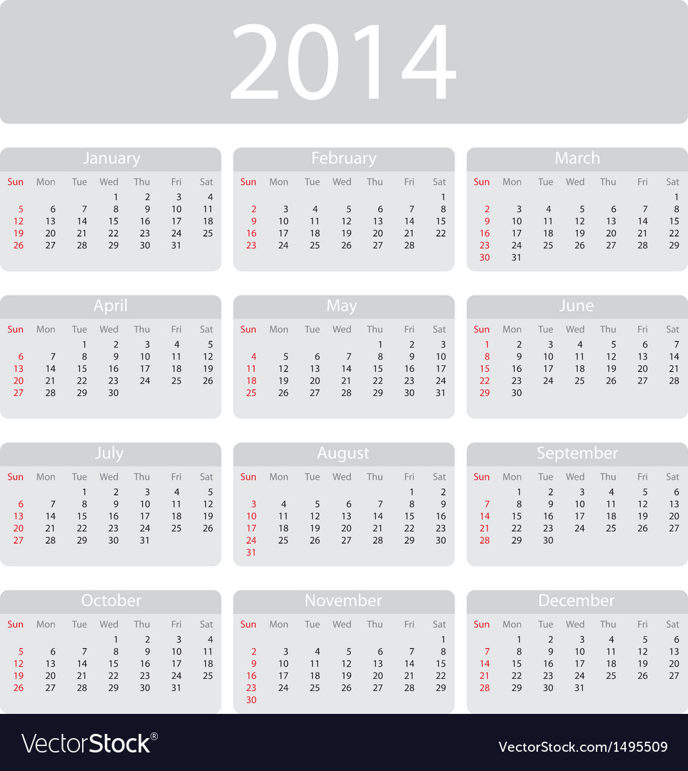 Minimalistic 2014 calendar vector | Price: 1 Credit (USD $1)