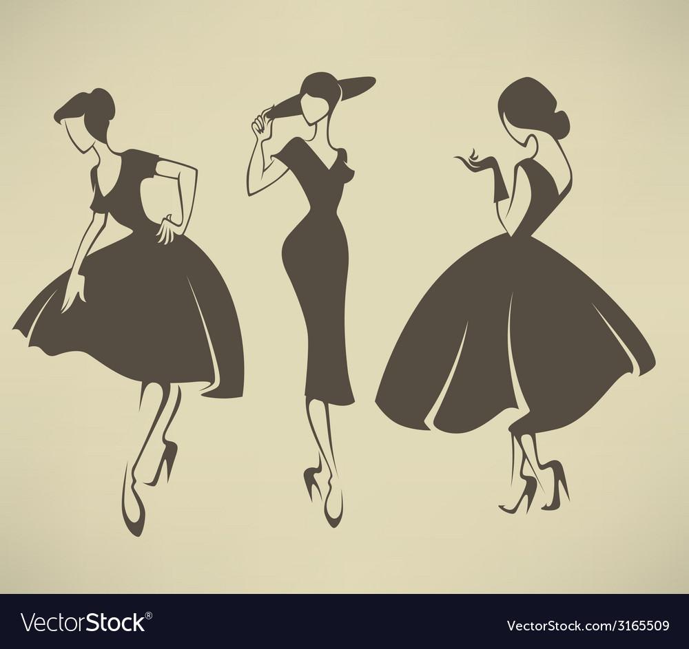 Retro girls vector | Price: 1 Credit (USD $1)