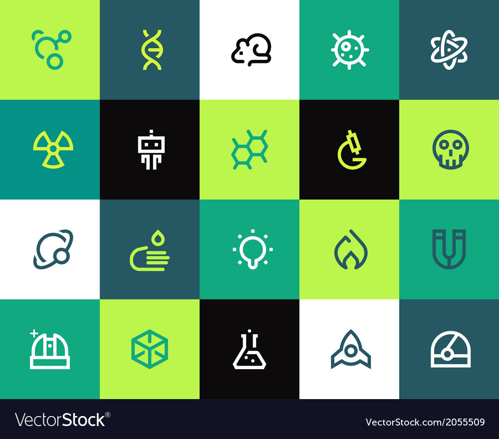 Science icons set flat vector